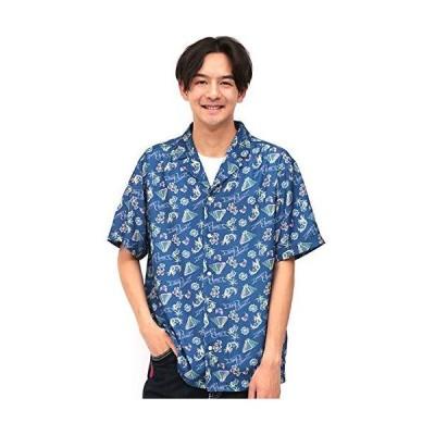 [チチカカ] メキシコアロハシャツ LARGE ブルー