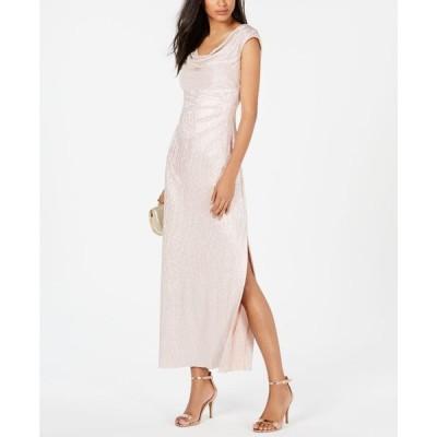 コネクテッド Connected レディース パーティードレス ワンピース・ドレス Petite Cowlneck Metallic Gown Pale Blush Pink