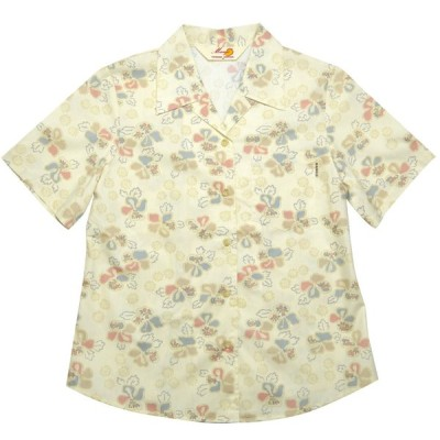 かりゆしウェア(沖縄アロハシャツ)レディース MANGO 古典ハイビ オープン アイボリー