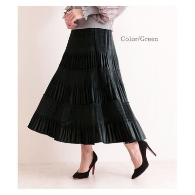 【サワアラモード】 高級感溢れるベロアプリーツスカート レディース グリーン F Sawa a la mode