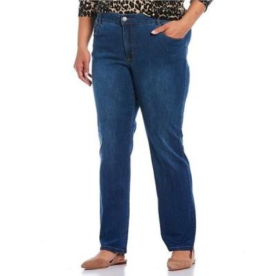 ウエストバウンド レディース デニムパンツ ボトムス Denim Plus Size THE FIT FORMULA Slim Straight Jeans