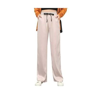 (ショッフェ)レディース ワイドパンツ 九分丈 ひも付き ストレート 長ズボン ハイウエスト 光沢あり パンツ