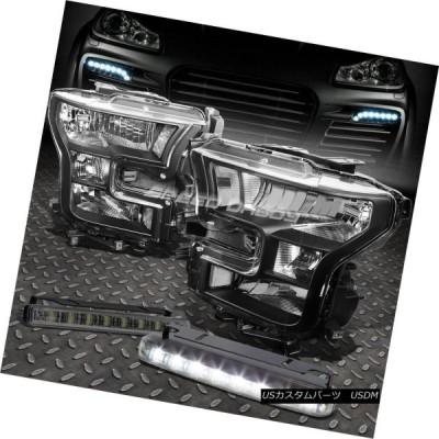ヘッドライト ブラックヘッドライトクリアコーナーランプ+ 8 LED TINTED DRL 15-17フォードF150ピックアップ BLACK HEA