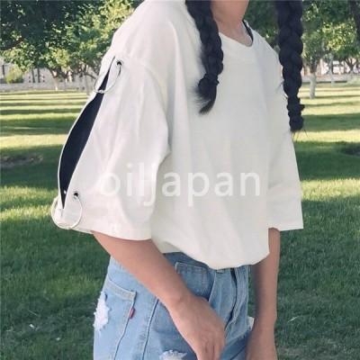 2色切替 袖リングデザイン スポーティ tシャツ カットソー トップス