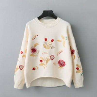 トップス セーター ニット 刺繍 花柄 可愛い 森ガール プルオーバー クルーネック フリーサイズ  #0520