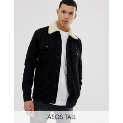 エイソス メンズ ジャケット・ブルゾン アウター ASOS DESIGN Tall denim jacket with detachable fleece collar in black Black