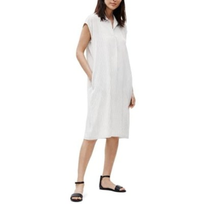 エイリーンフィッシャー レディース ワンピース トップス Stripe Silk Shirtdress IVYBK