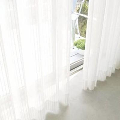 ホワイト(ストライプ) 幅150cm×丈198cm(1枚入) レースカーテン 夜も透けにくいミラーレース UVカット ミラーカーテン 1枚入り 幅150
