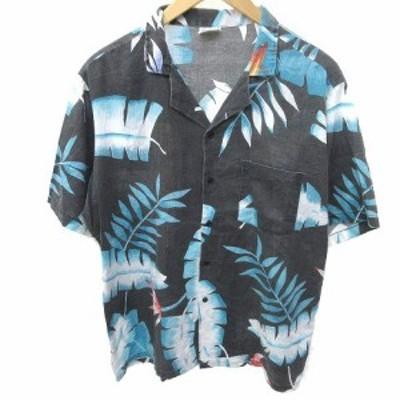 【中古】ヴィンテージ VINTAGE 70S Shore Things アロハシャツ 半袖 トロピカル柄 鳥 L 黒 ブラック K041217 メンズ
