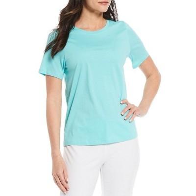 エイリーンフィッシャー レディース Tシャツ トップス Organic Pima Cotton Jersey Round Neck Short Sleeve Tee Aqua