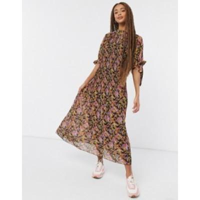 エイソス レディース ワンピース トップス ASOS DESIGN pleated trapeze midi dress with tie sleeves in dark base floral Ditsy floral