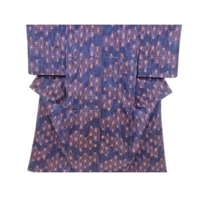 宗sou 未使用品 仕立て上がり 麻の葉模様織り出し手織り真綿紬着物【着】