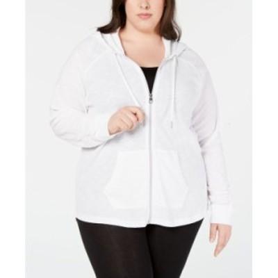 カルバンクライン レディース ジャケット・ブルゾン アウター Plus Size Ruched-Sleeve Zip Hoodie White