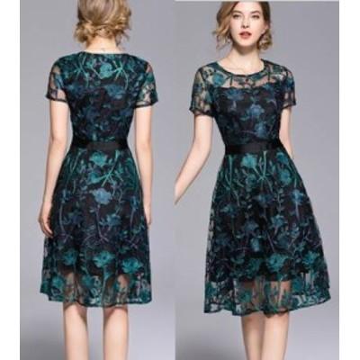 パーティードレス レディース ワンピース ミドル丈ドレス 結婚式 ドレス 透け感 ラウンドネック 半袖 刺繍 花柄