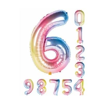 虹色 数字バルーン40インチ0-9誕生日パーティーデコレーションの風船の数字6
