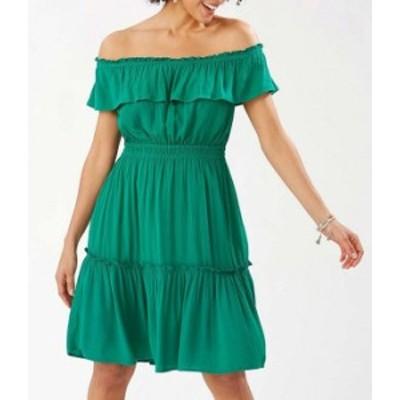 トッミーバハマ レディース ワンピース トップス Caicos Crinkle Gauze Off-The-Shoulder Cinched Waist Dress Green Charm