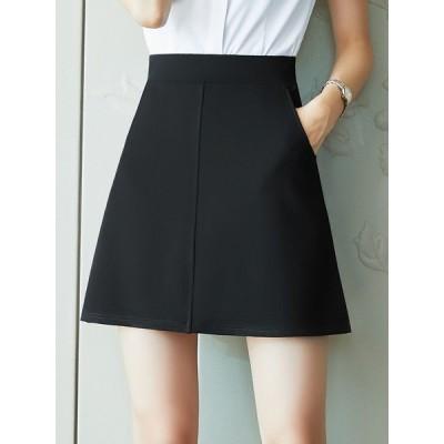 スカート ミニ丈 シンプル レディース ファッション ショートスカート  夏 新作 スーツ 大きいサイズ ワーク ブラック ハイウエスト 春