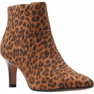 クラークス レディース ブーツ・レインブーツ シューズ Illeana Petal Pointed Toe Bootie Dark Tan Leopard Suede