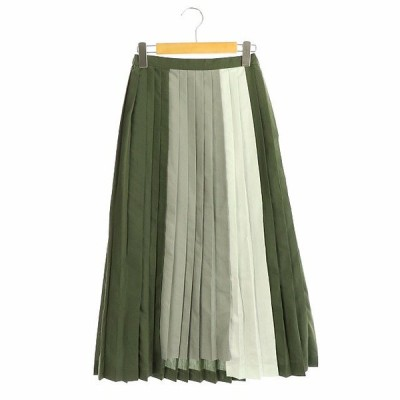【中古】アメリ AMERI COLOR DOCKING PLEATS SKIRT スカート ロング プリーツ 配色 切替 緑 グリーン /ES ■OS レディース 【ベクトル 古着】