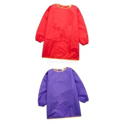 子供長い袖 スモック エプロン 防水 絵画 食事 遊び 料理作り用 女の子 男の子 兼用 紫+赤