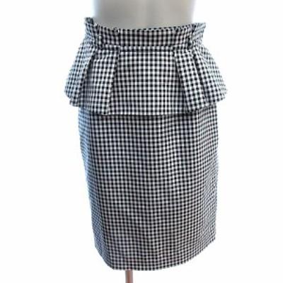 【中古】ジャスグリッティー JUSGLITTY タイトスカート ひざ丈 ペプラム フリル ギンガムチェック 1 黒 ブラック 白