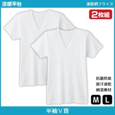 シーズン涼感平台 抗菌防臭 速乾柄フライス VネックTシャツ 半袖V首 2枚組 Mサイズ Lサイズ グンゼ GUNZE | 半袖 紳士肌着 男性下着 メン