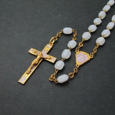 ヴィンテージロザリオ 聖母マリアとイエスキリスト ピンクエナメル