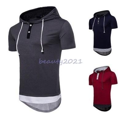 『Men's Fashion』 S〜2L メンズファッション ストリート ジュニア おしゃれ 無地 トップス 半袖シャツ ロング丈 メンズシャツ T-シャツ