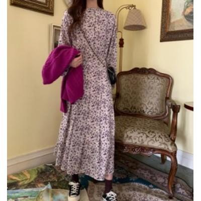 韓国 ファッション レディース ワンピース 花柄 ロング ハイウエスト タック 長袖 ゆったり レトロ 大人可愛い フェミニン 上品 春 新作