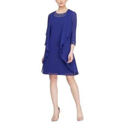 エス エル ファッションズ ワンピース トップス レディース Beaded Neck Jacket Dress Iris Blue