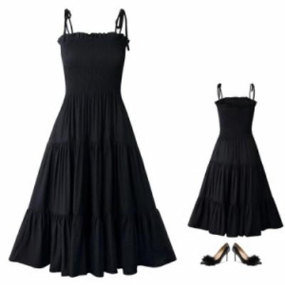 薄いビーチスカート ストラップドレス ワンピース ミディミモレドレス 着?せ チュールスカート ブラックワンピース