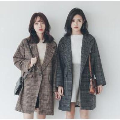 [55555SHOP]中綿入りチックコート✨ レディース 韓国 冬 チェック グレンチェック グレンチェックコート 防寒 アウター ブルゾン