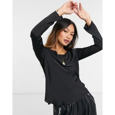 エイソス レディース シャツ トップス ASOS DESIGN long sleeve bias cut satin top with cowl neck in black Black