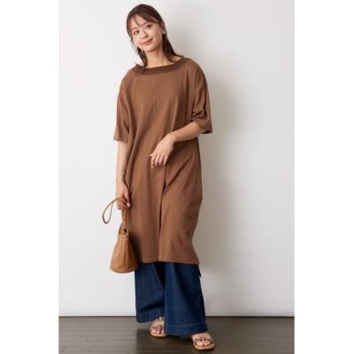 【ファナカ】 衿ぐり刺繍Tシャツワンピース レディース ブラウン フリー Fanaka