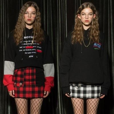 スカート タイト チェック ミニ 韓国 おしゃれ かわいい ファッション 黒 赤 AT THE MOMENT