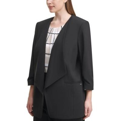 カルバンクライン レディース ジャケット・ブルゾン アウター Plus Size 3/4-Sleeve Open-Front Jacket