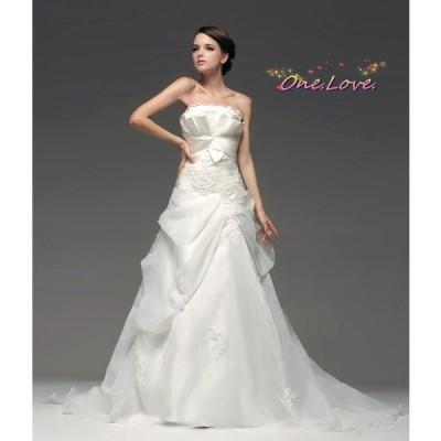 即納】ウエディングドレス 編み上げウェディングドレス 二次会ドレス 花嫁ドレス  ブライズメイド
