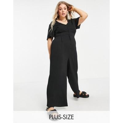 エイソス ASOS Curve レディース オールインワン キュロット ジャンプスーツ ASOS DESIGN curve short sleeve tea culotte jumpsuit in black ブラック