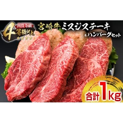 E31-20 ≪肉質等級4等級以上≫宮崎牛ミスジステーキ&ハンバーグセット(合計1kg)