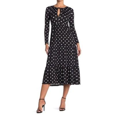ベルベットトーチ レディース ワンピース トップス Polka Dot Keyhole Long Sleeve Midi Dress BLK WHT DOT