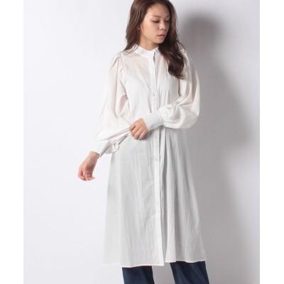 【ミージェーン】 コットンガーゼバンドカラーシャツワンピース レディース オフホワイト FREE me Jane