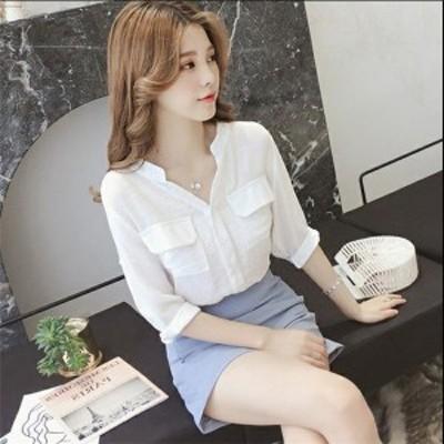 送料無料 レディースシャツ シャツ ブラウス 韓国ファッション 女性らしさ 長袖 Vネク OL 通勤 エレガント 夏