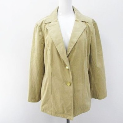 【中古】レリアン Leilian スウェード調 長袖 シングルジャケット 13 ベージュ系 ボタン 裏地 レディース
