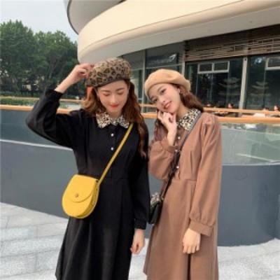 【2019秋冬】【2カラー】シンプルながらも、アニマル柄の襟がアクセントになったワンピース♪ ワンピース/無地/シンプル/ベーシック/長