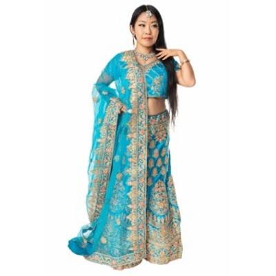 【送料無料】 【1点物】インドのレヘンガドレスセット アクアブルー / パーティードレス コスプレ ウェディングドレス 民族衣装 サリー
