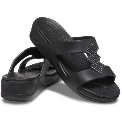 [クロックス公式] ウェッジソール クロックス モントレー シマー スリッポン ウェッジ ウィメン レディース、ウィメンズ、女性用 ブラック/黒 21cm,22cm,23cm,24cm,25cm Women's Crocs Monterey Shimmer Slip-On Wedge