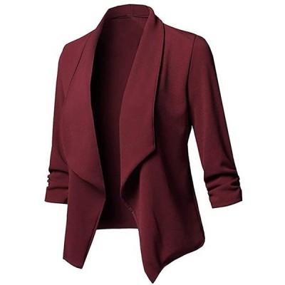スーツ ジャケット レディース 大きい ビジネス カーディガン 春 夏 無地 細身 ブレザー ショート 七分(s2012250766)