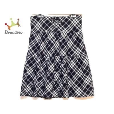 バーバリーロンドン スカート サイズ36 M レディース - 黒×グレー×白 ひざ丈/チェック柄 新着 20200819