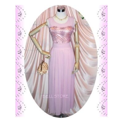 フォーマルロングドレス/フロントコード刺繍キュートロングシフォンワンピース/スモーキーピンク/演奏会 結婚式  パーティなどに/
