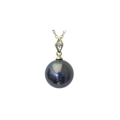 ネックレスペンダント 黒真珠パール K18ホワイトゴールドネックレス ダイヤモンド 冠婚葬祭